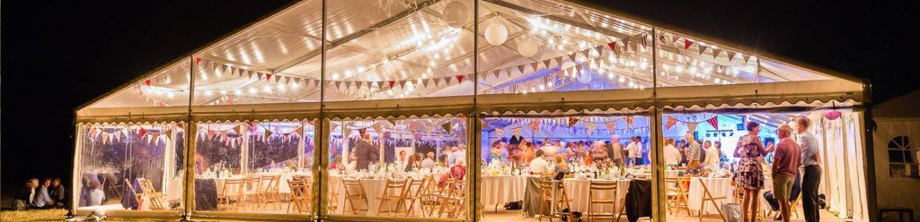 Exmouth event marquee at night