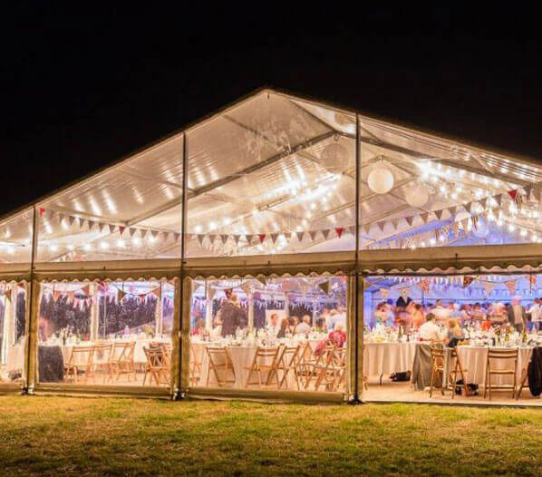 Clearspan Marquee at night